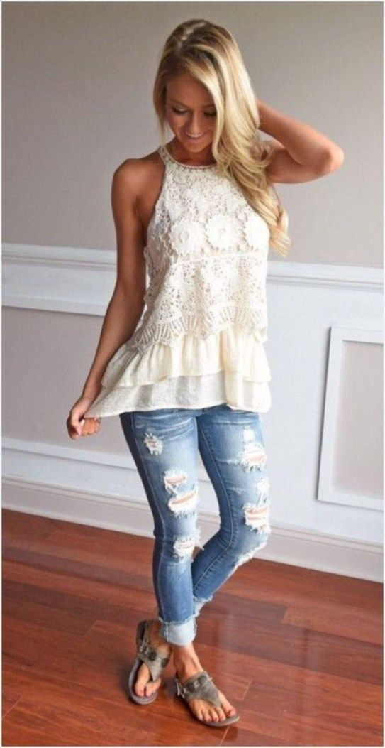 42 Trendy Summer Outfits Ideas with Jeans