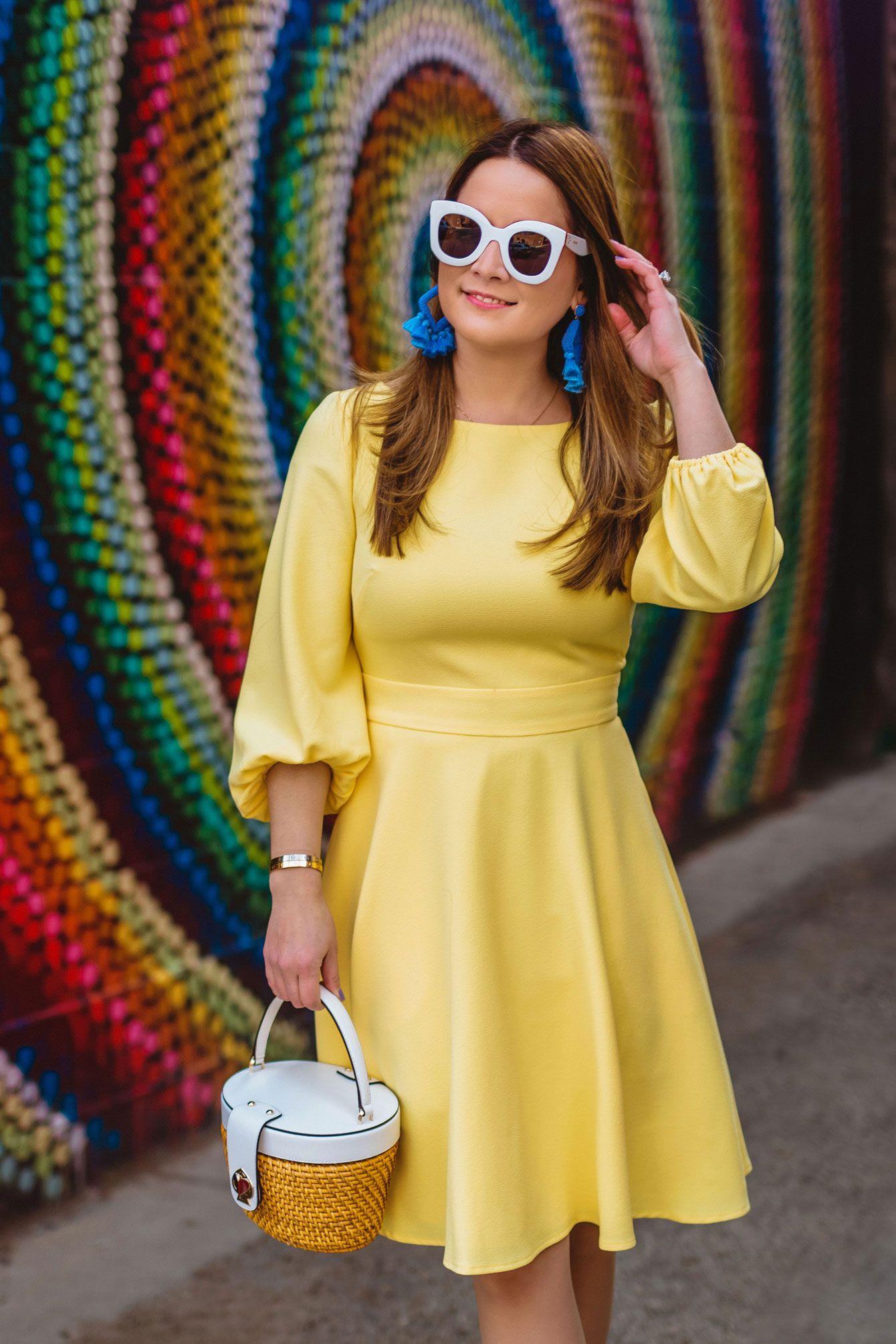 edc99ced3a59 Bauble Bar Blue Tassel Statement Earrings yellow fit and flare lantern sleeve  dress Jenn Lake of