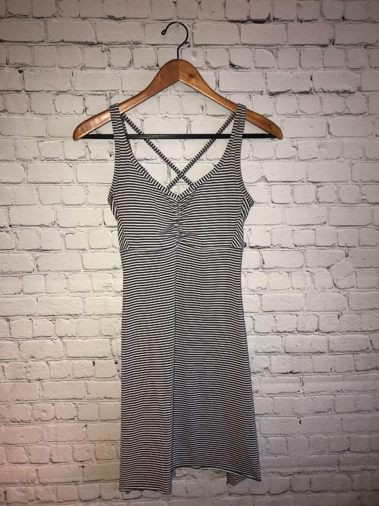 13deeb8876d PRANA Rebecca Strappy Dress White Gray Striped Shelf Bra Tank Cross Back Sz  S