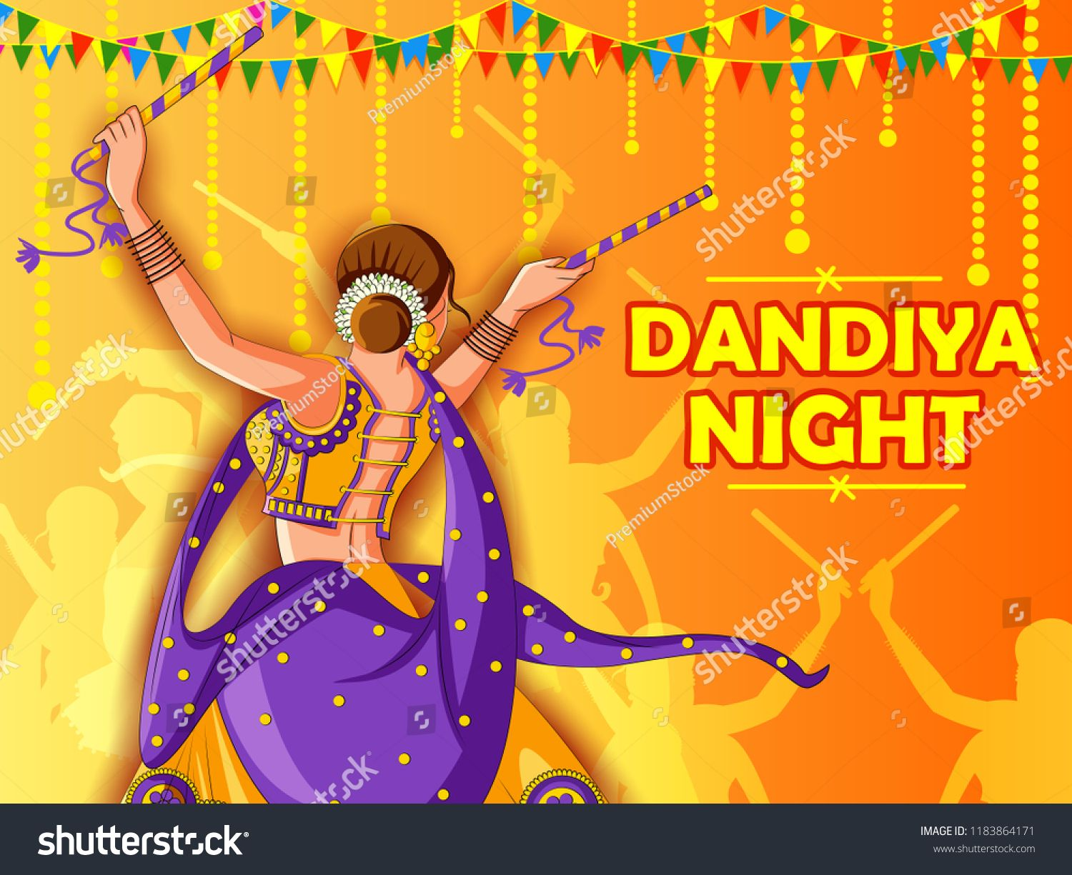 Vector Design Of Indian Woman Playing Garba In Dandiya Night Navratri Dussehra Festival Of Indiawoma Vector Design Floral Invitations Template Indian Festivals