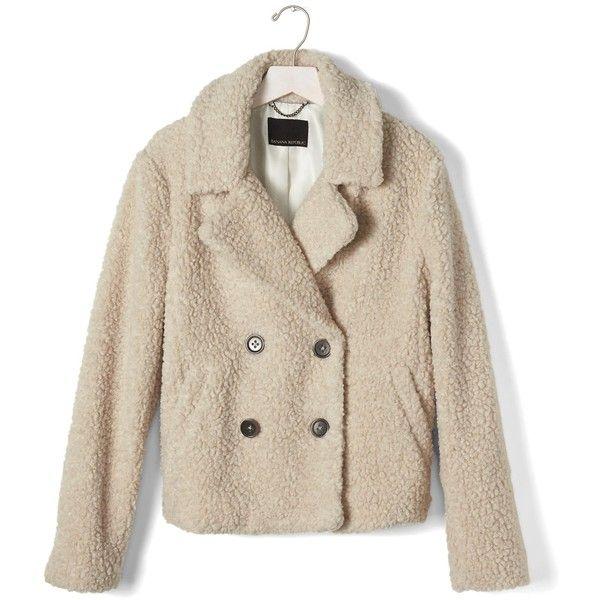 Banana Republic Womens Short Teddy Coat ($198) liked on