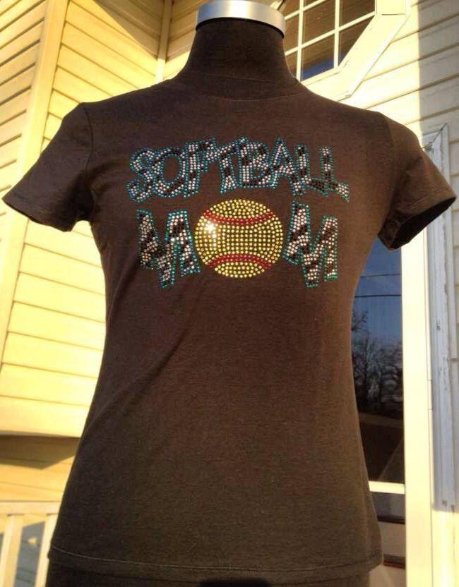 Softball Mom Rhinestone Shirt. - pinned by pin4etsy.com