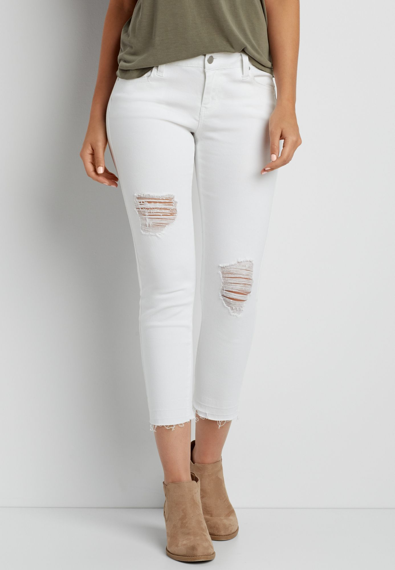 fa5be8cd2c132 crop pant with destruction and released hem in white (original price ...