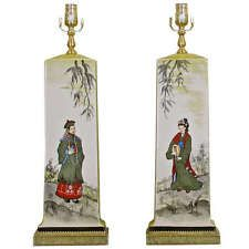 Pair James Mont Style Asian Inspired Painted Ceramic Lamps