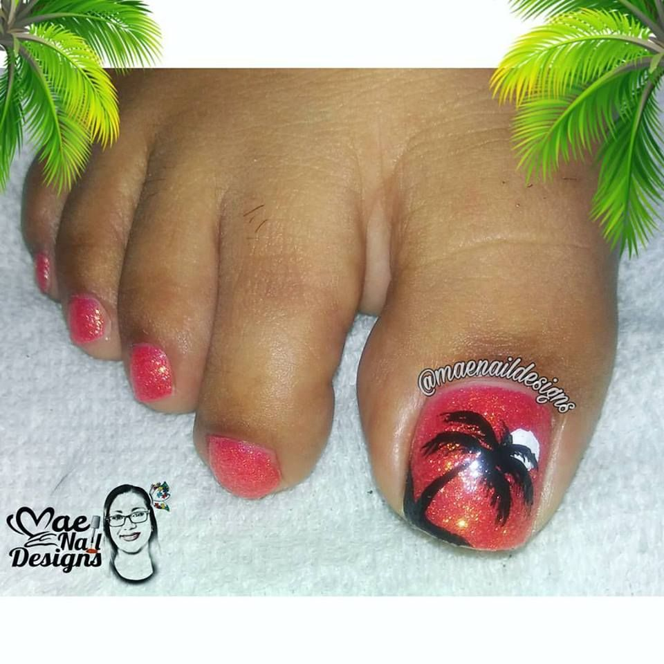 Black Palm Tree Toe Nail Design Year Of Clean Water