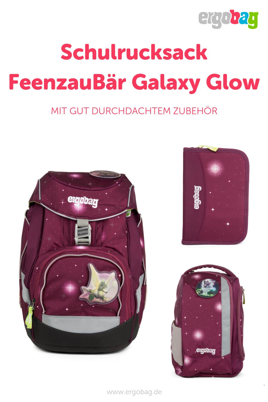 FeenzauBär Glow-lila galaxie Ergobag Pack Schulrucksack Schulranzen-Set 6tlg.