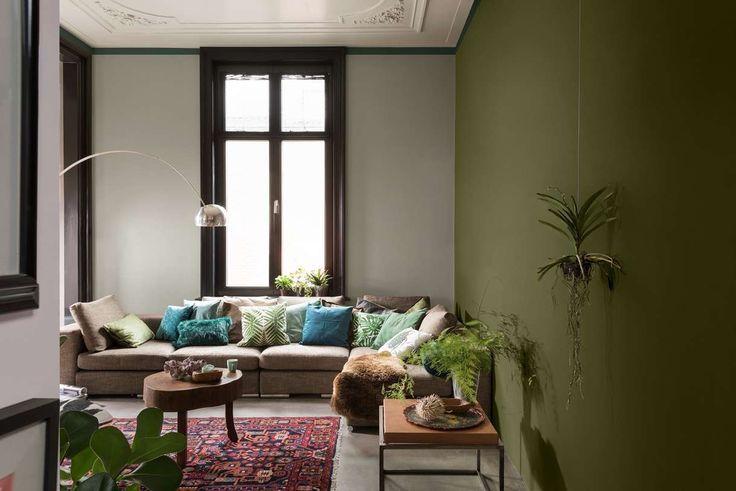 Nice déco salon couleur 2017 bleu gris tendance peinture dulux valentine salon vert