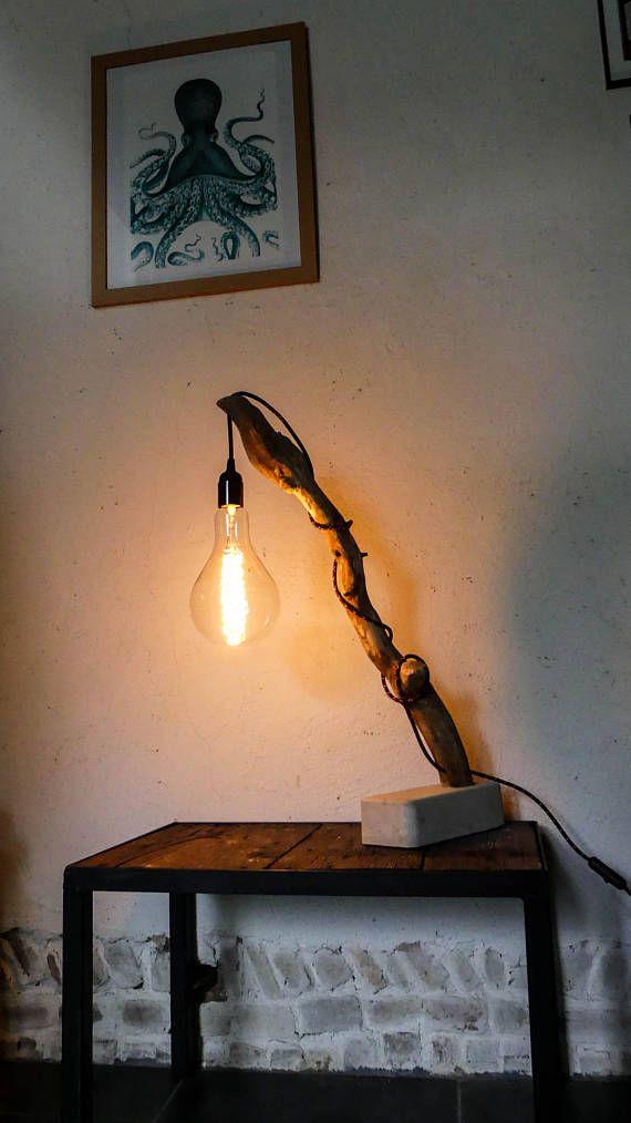 Lampe bois flotté ampoule XXL vintage  filament