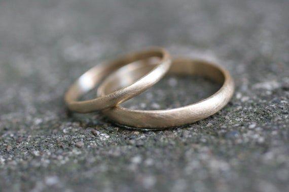 10 k Gelbgold halb runde Hochzeit Band Set 2 Ringe