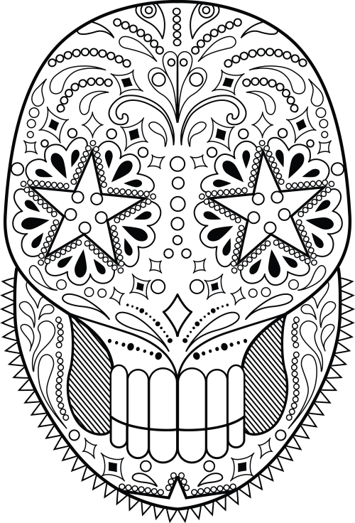 Sugar Skull Coloring Page 12 Skulls To Color Pinterest Free