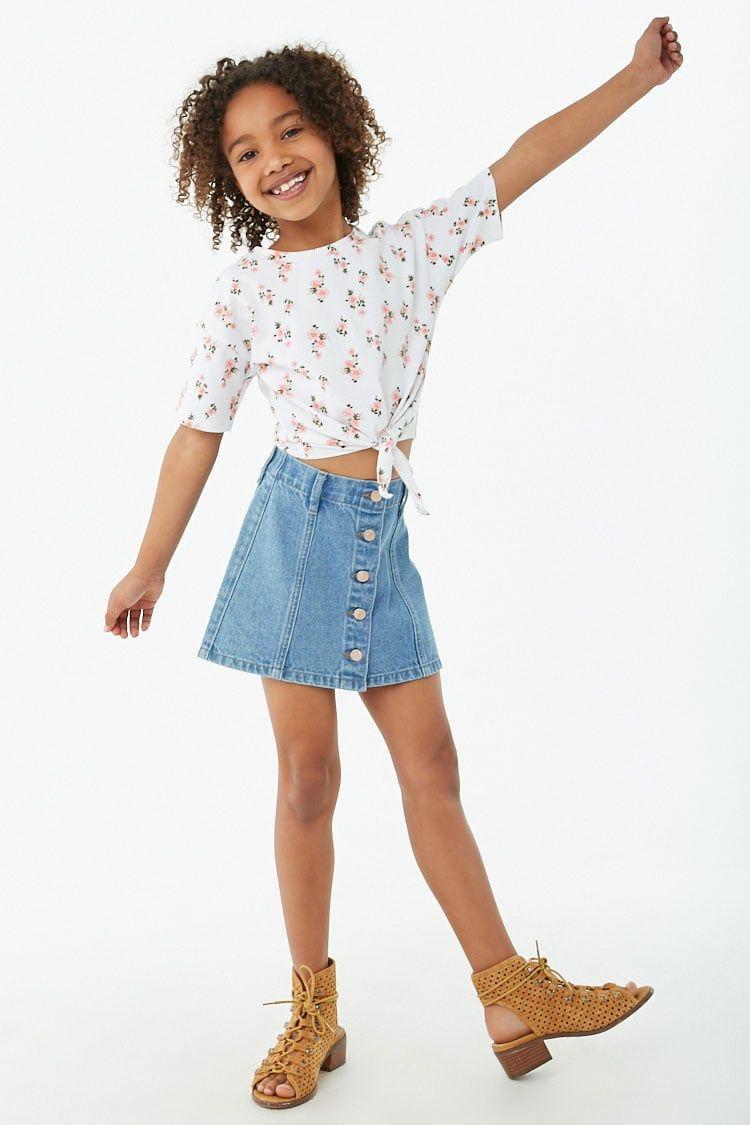 Girls Denim A-Line Skirt (Kids)