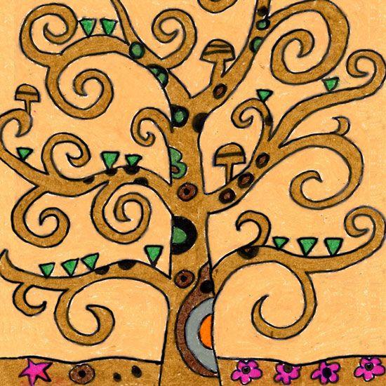 Come disegnare l albero della vita di gustav klimt for Albero della vita da stampare e colorare
