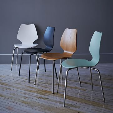 fun dining room chairs | Peppermill Dining Chair White + peel and stick wallpaper ...