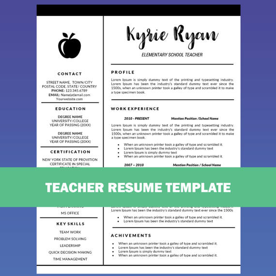 Teacher Resume Template Word / Cover Letter Template, Teaching