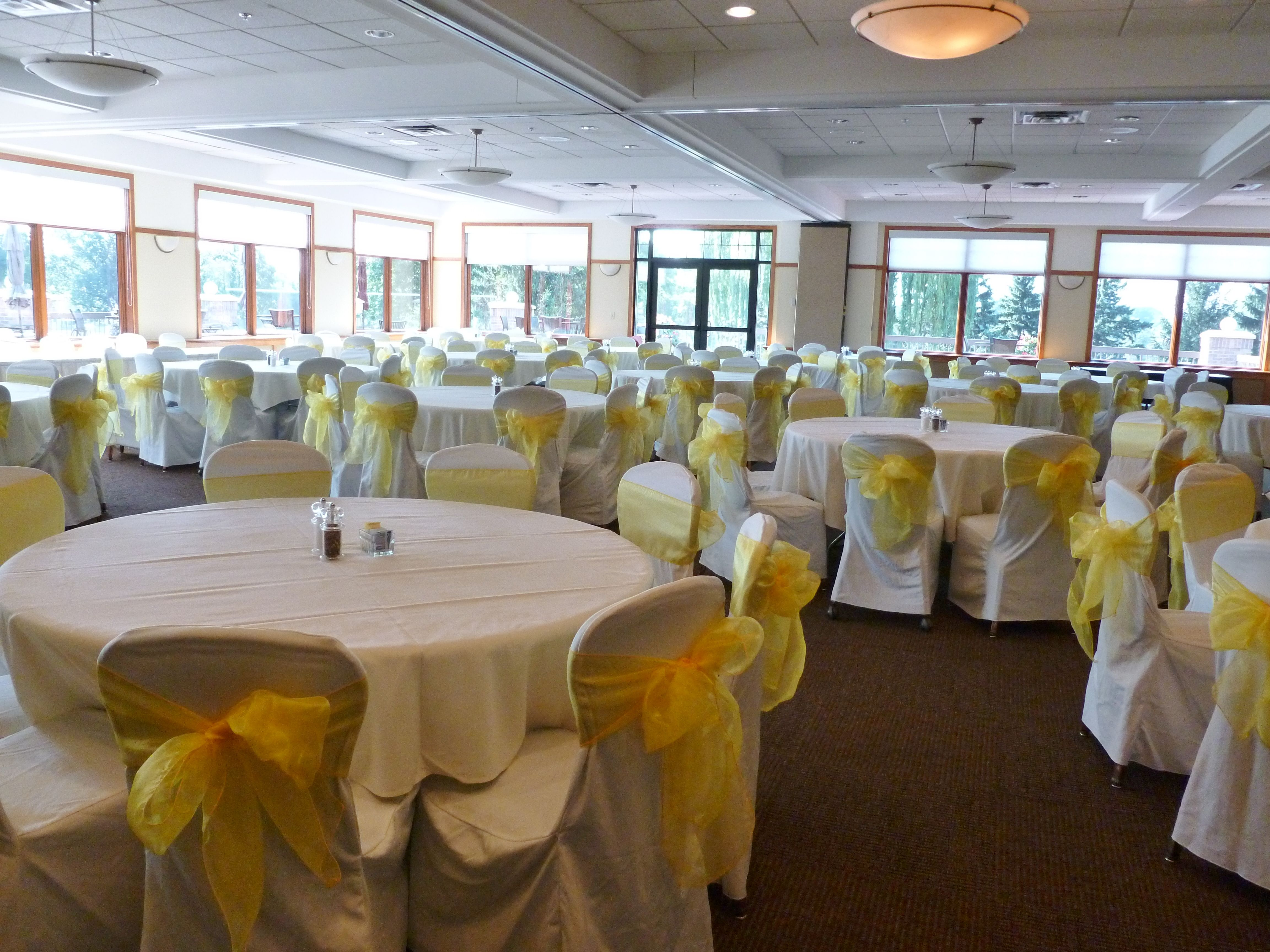 Yellow Chair Covers White Chair Covers With Yellow Organza Sashes Traditional Bow At