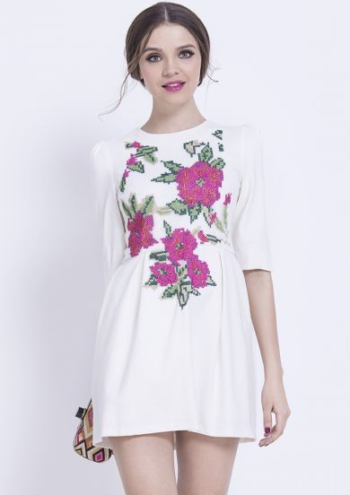 White Half Sleeve Embroidered Ruffle Dress