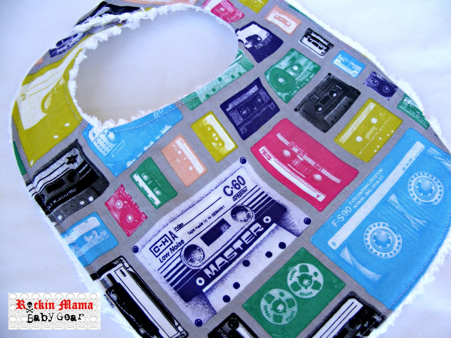 Cassettes Baby Bib - fits up to 12 months by RockinMamaBG on Etsy