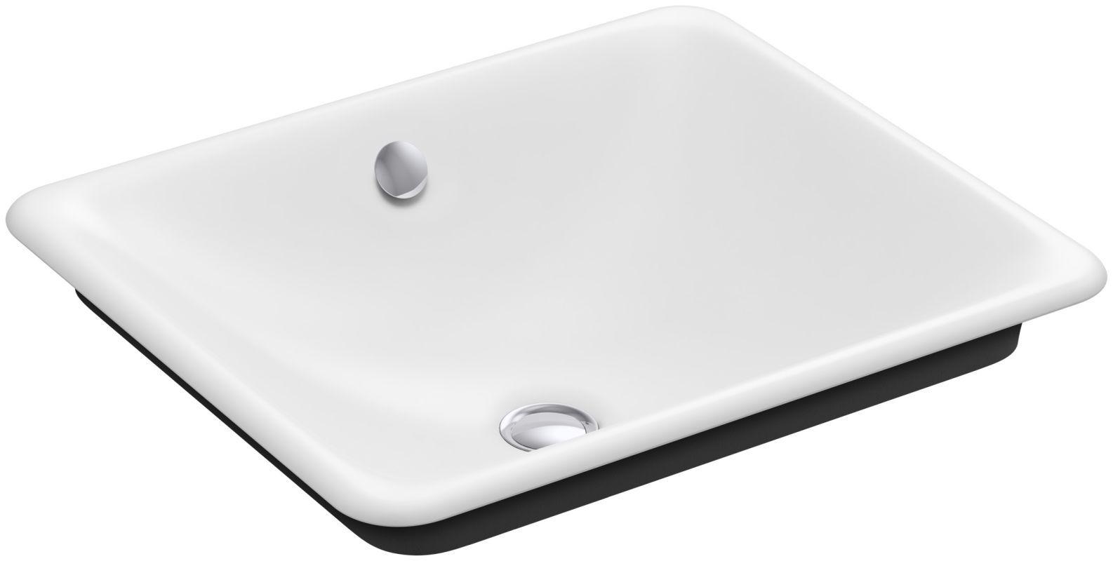"Kohler K-5400-P5 Iron Plains 19-9/16"" Drop In Enameled Cast Iron Bathroom Sink w White Fixture Lavatory Sink Cast Iron"