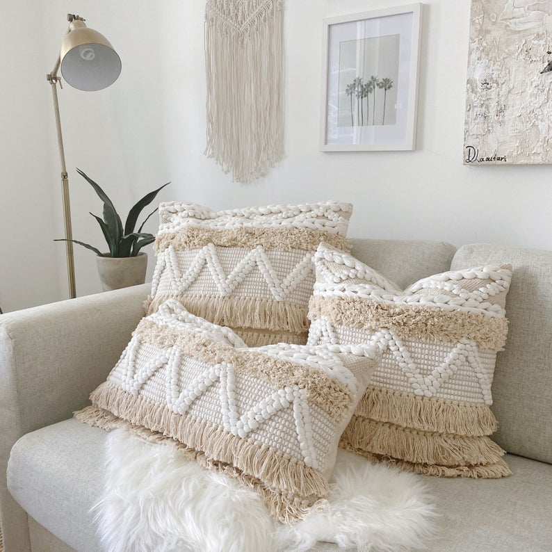 PRE-ORDER Handwoven Bohemian Pillow, Boho Pillow Cover, Fringe Bohemian Pillow, Ivory Scandi Boho Throw Pillow, White Cream Floor Pillow