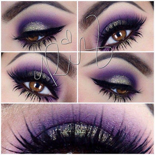PURPLE ,BLACK,SILVER GLITTER | make up | Pinterest ...
