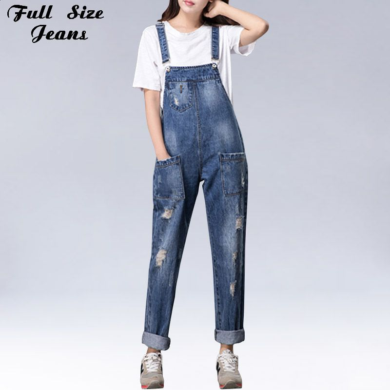 1cb09df4fb4 Plus Size Women Wide Leg Loose Ripped Denim Overalls Europe Jumpsuit  Boyfriend Hole Pockets Jeans Romper S M XL 3XL 5XL 6XL. Yesterday s price   US  59.00 ...