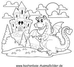 Ausmalbild Burg Drache                                                                                                                                                      Mehr