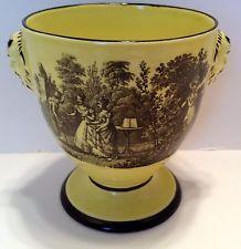 Mottahedeh Cachepot Vase Yellow Urn Mug Cup Black Transfer Scene Man's Head