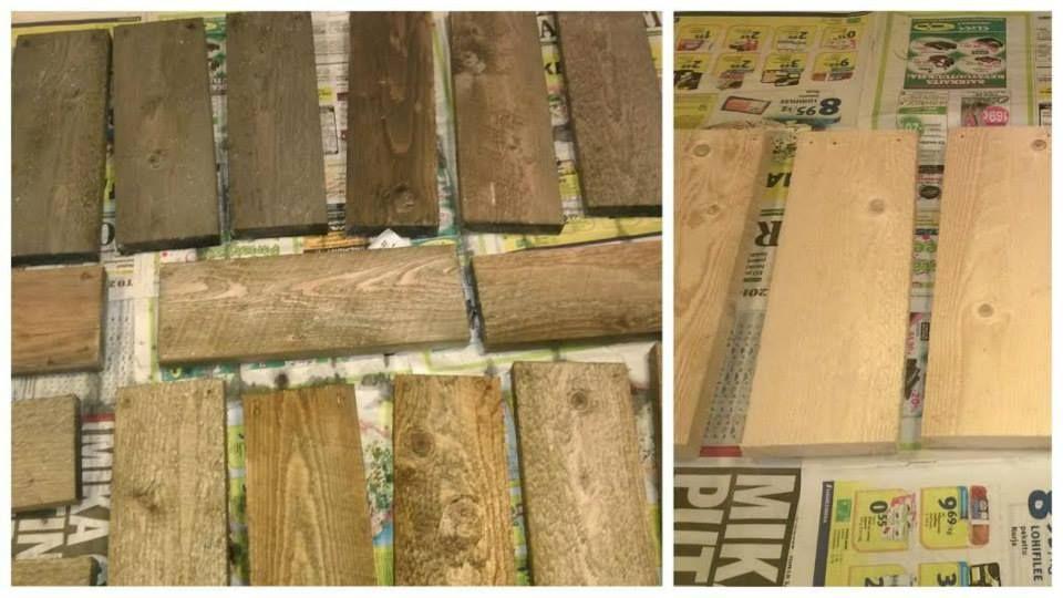 Etikka+teräsvilla+tee-liemellä vanhennettua puuta. Ylärivissä n.2 tuntia kuivunutta, alarivissä juuri sudittua.