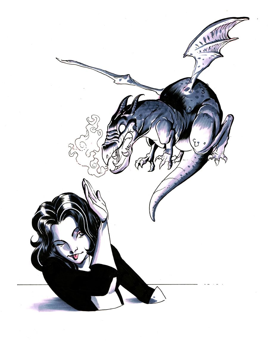 Kitty Pryde (Shadowcat) and Lockheed by Elliot Fernandez