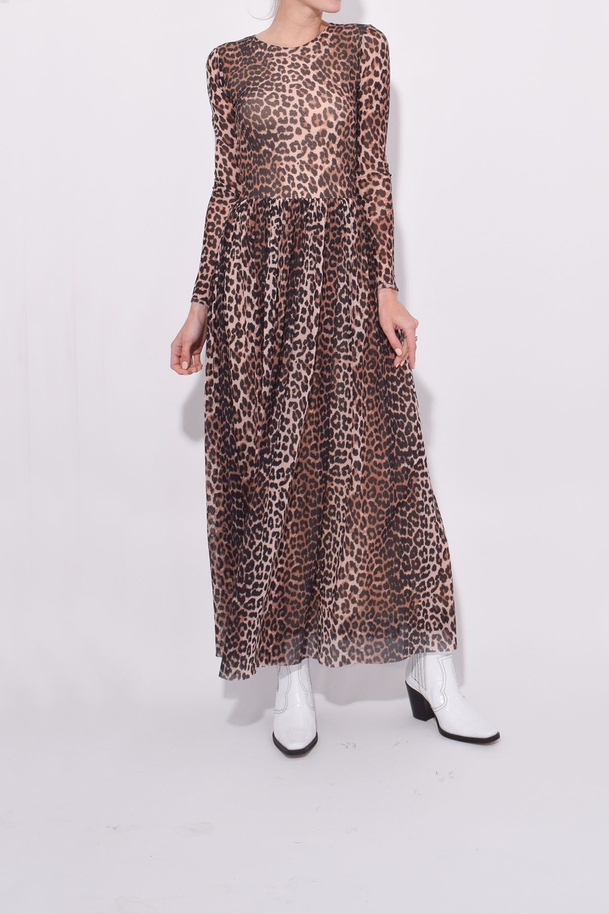 c2c17590 Ganni Printed Mesh Maxi Dress in Leopard | Hampden Dresses in 2019 ...