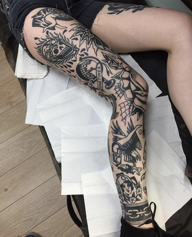 Full Leg Tattooed By Flurickpunktattoo Tattoo Tattoos Tattooed Ink Inks Inked Blacktraditionals Trad Full Leg Tattoos Leg Tattoos Traditional Tattoo