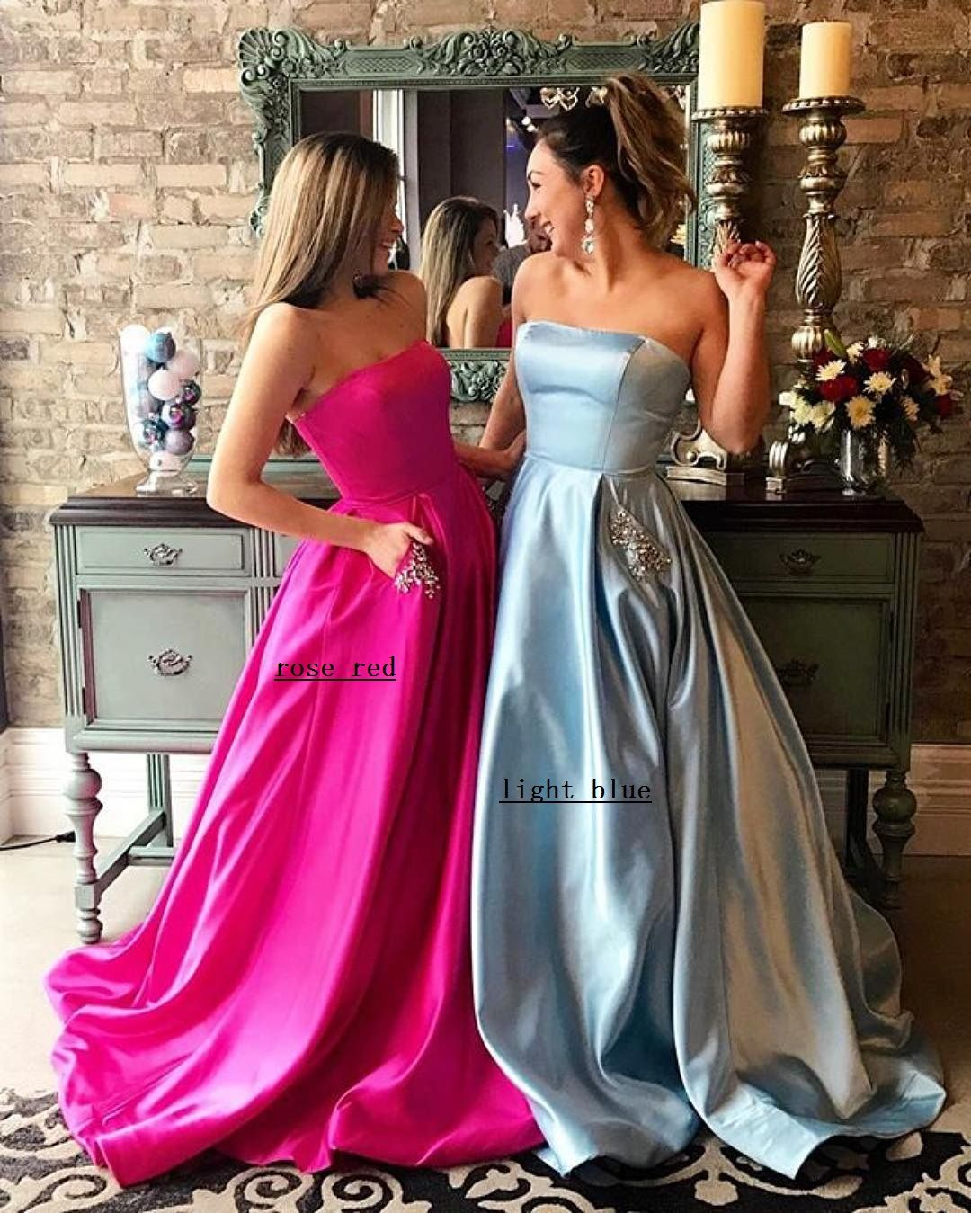 Strapless satin long prom dress ball gownslong party prom dress