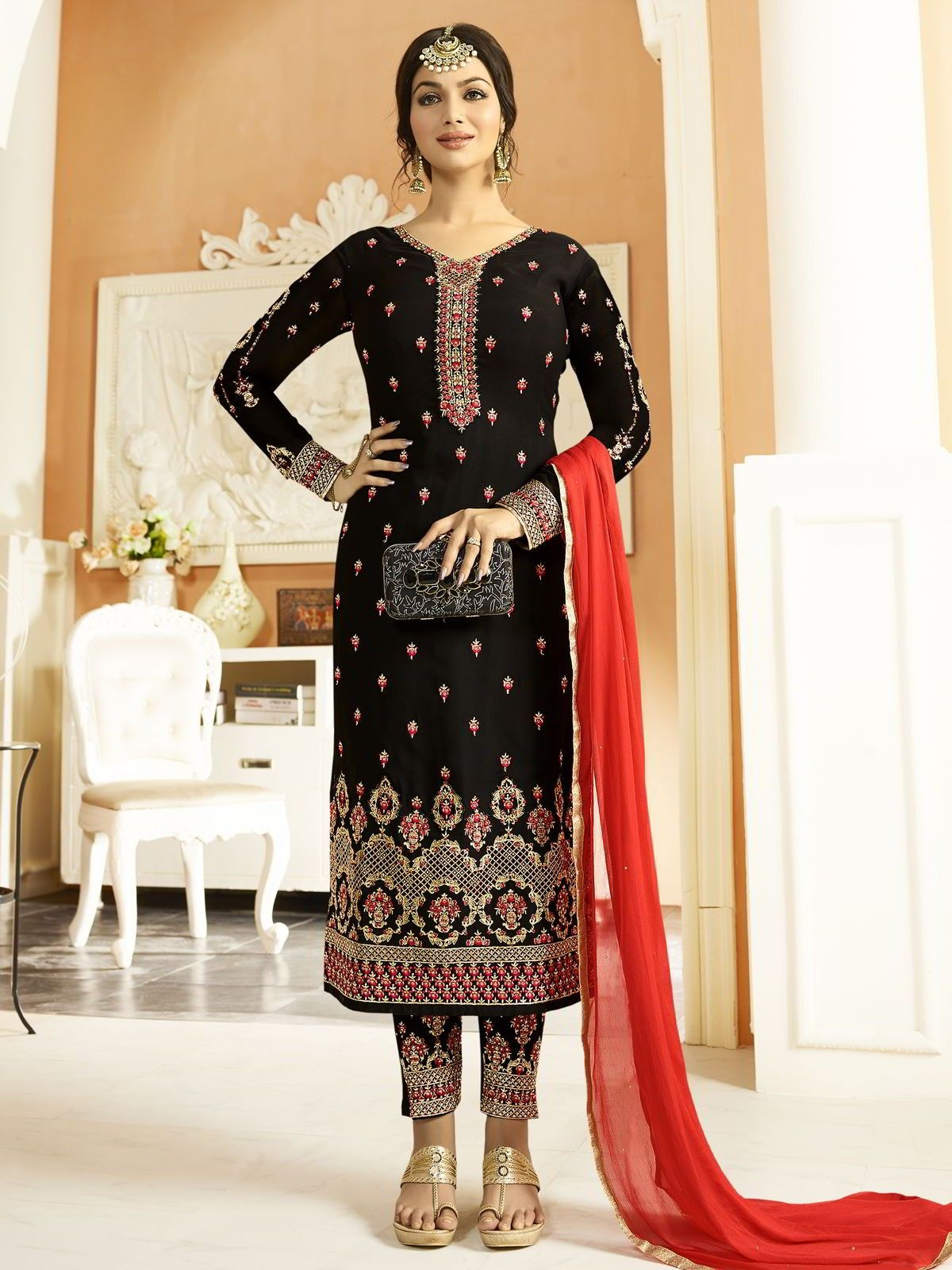 47e799ac07 Ayesha takia straight cut suit online which is crafted from black fabric  with exclusive embroidery and stone work. #Inddus #AyeshaTakia  #BollywoodSuits ...