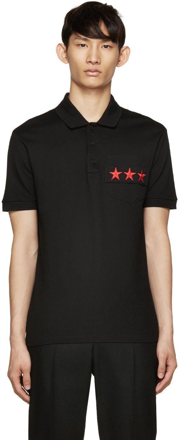 b42034f8 Givenchy Black Star Pocket Polo | Designer Polo Shrt | Givenchy polo ...