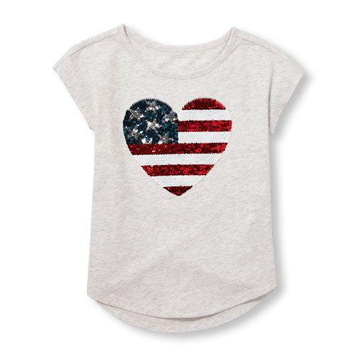 e24e3554d Girls Americana Short Sleeve Flip Sequin Graphic Top