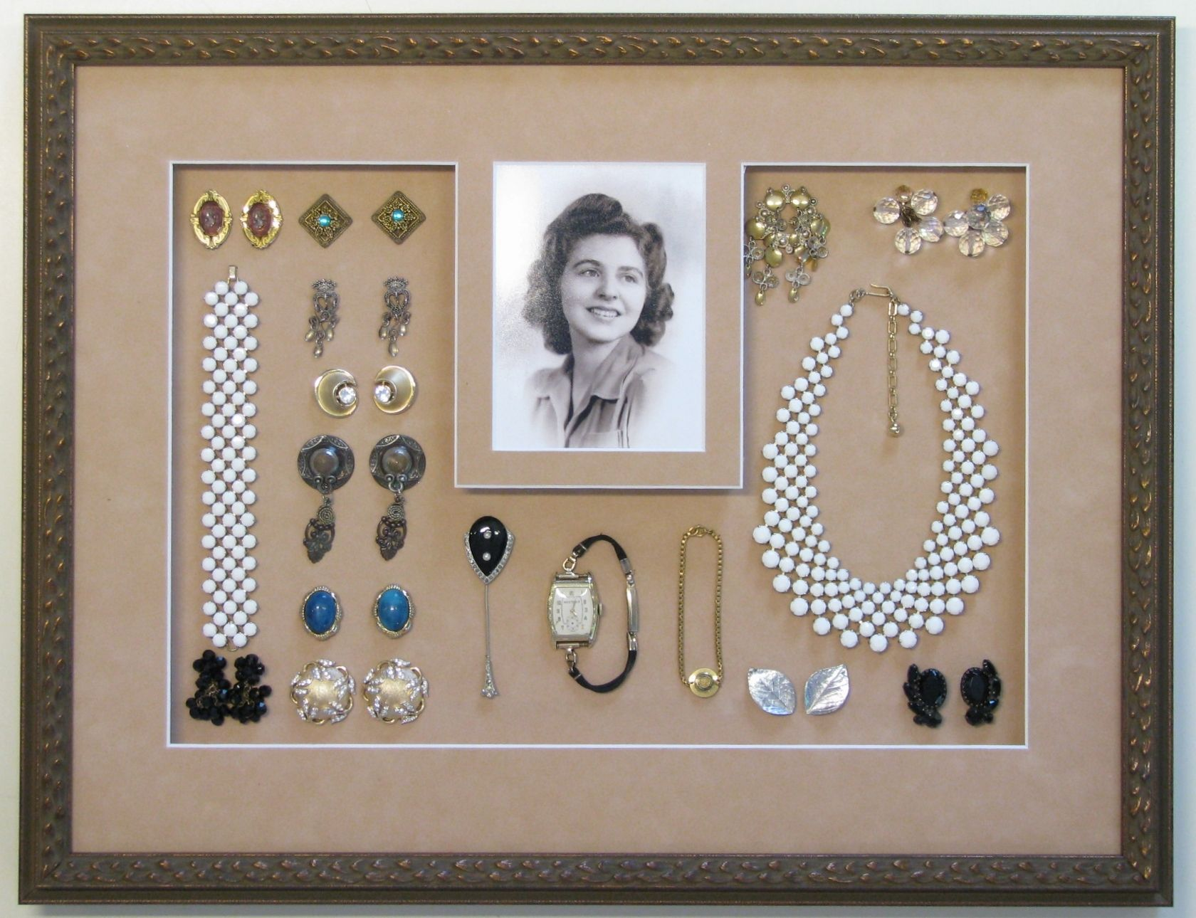 moms antique jewelry and photo shadowbox