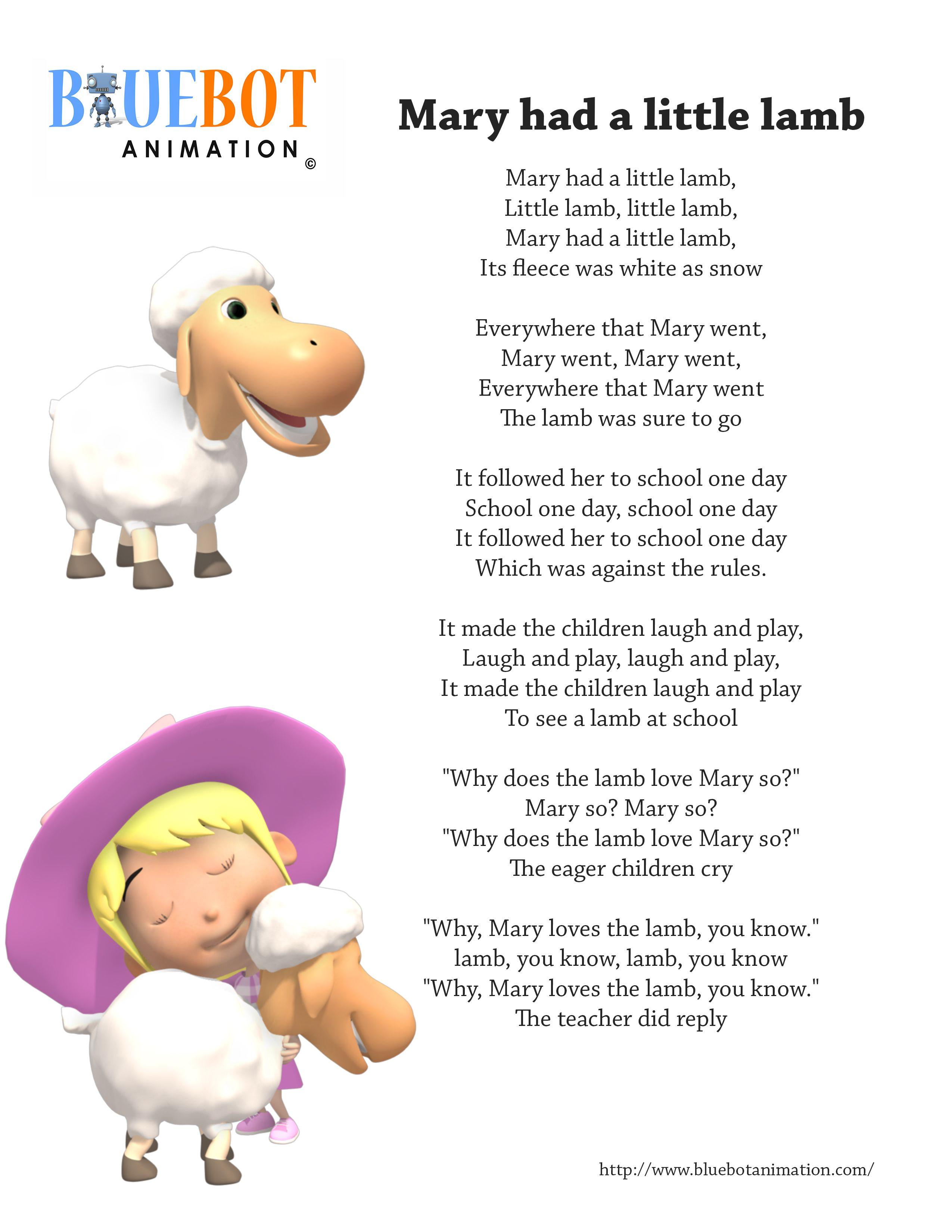 Mary Had A Little Lamb Nursery Rhyme Lyrics Free Printable Nursery