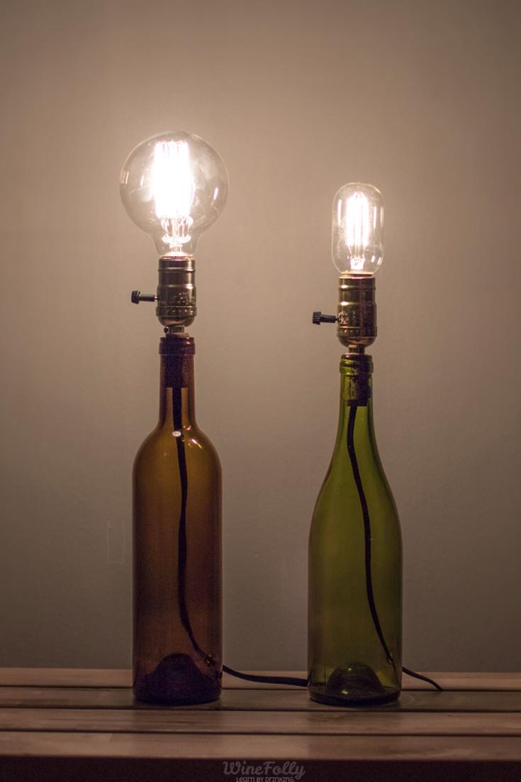 How To Make A Wine Bottle Lamp Wine Bottle Lamp Diy Bottle Lamp