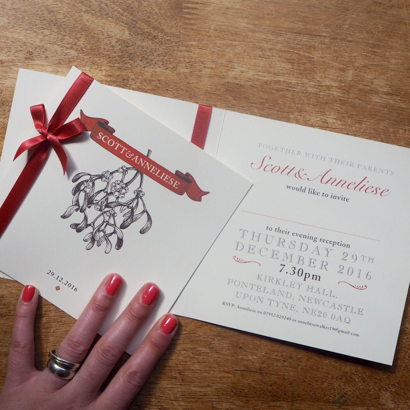 Inside layout of folded wedding invitation card - Mistletoe design ...