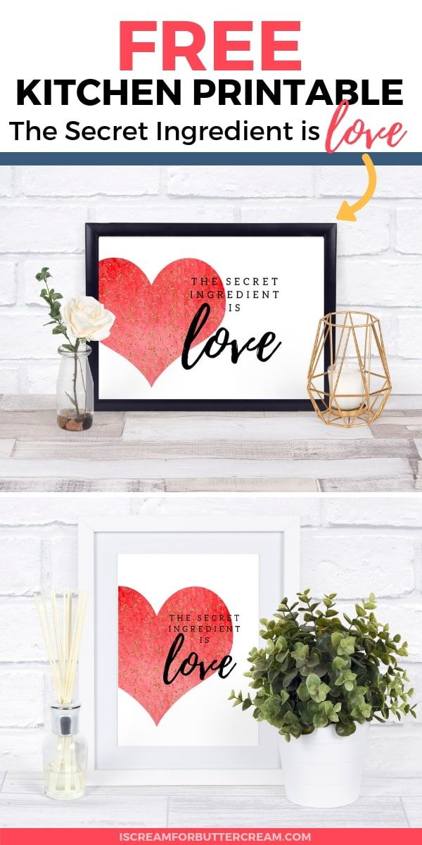 the secret ingredient is love free kitchen printable valentines printables free love is free on kitchen quotes printable id=24206