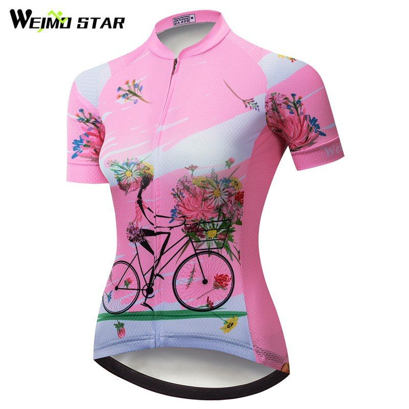 Weimostar Cycling Jersey Women Pink Summer Team Racing Cycling Clothing  Maillot Ciclismo Quick Dry Bike Jersey mtb Bicycle Shirt ce8721d63