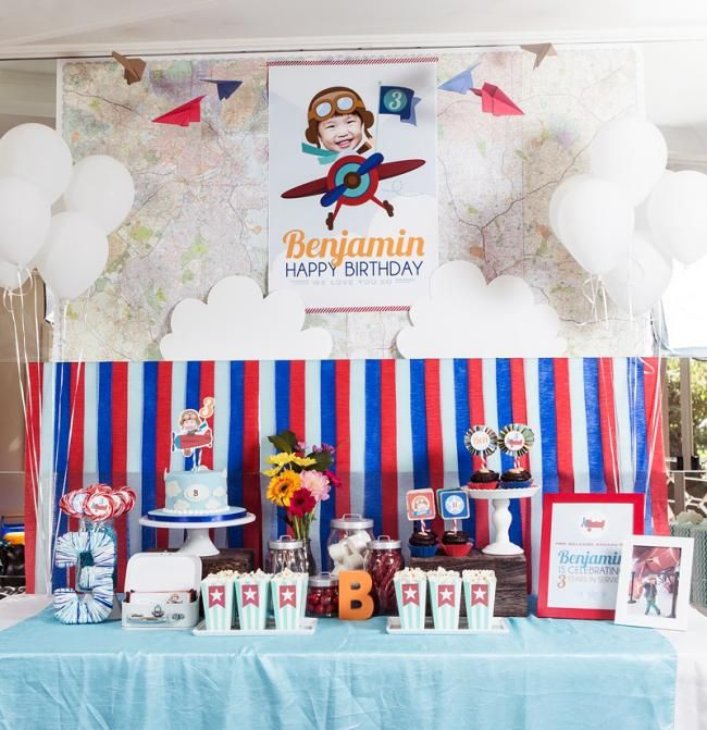 Boys Airplane Themed Birthday Party Dessert Table Ideas Bens