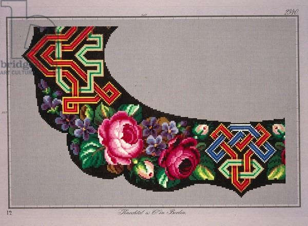 Hem Berlin hem corner design with roses violets and geometric motifs 19th