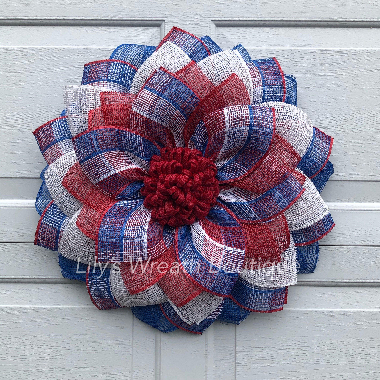 Fourth of July Wreath 4th of July Wreath Sunflower Wreath Flower Wreath red white and blue wreath