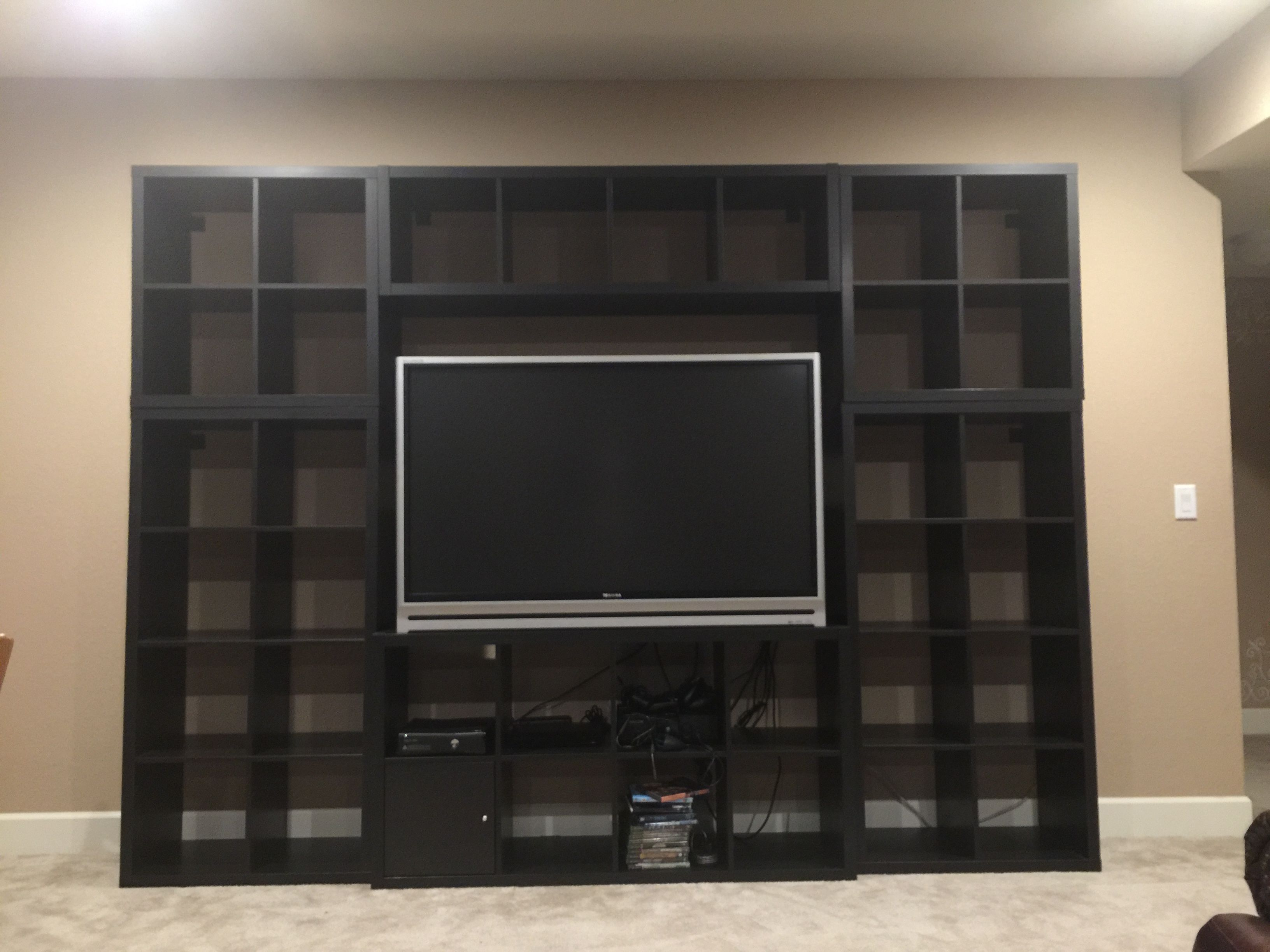 These Are Kallax Ikea Shelves Put Together And Anchored To The Wall To Create An Entertainment Center Next Adding The Tv In Bedroom Home Theater Rooms Kallax