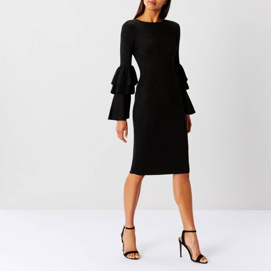 116 31 Bnwt 109 00 Coast Black Alessa Sparkle Flare Sleeves Bodycon Knit Dress Sz 14 Bnwt 10 Black Sparkly Dress Knitted Bodycon Dress Shimmer Dress