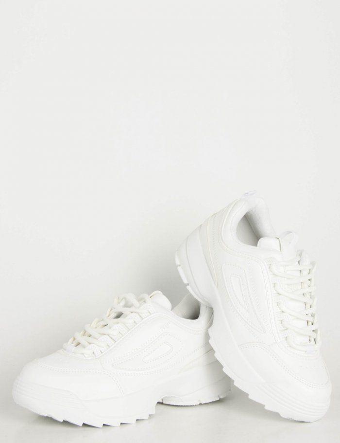 94d7ab32f6f Γυναικεία λευκά αθλητικά παπούτσια τρακτερωτή σόλα KS1222 in 2019 ...