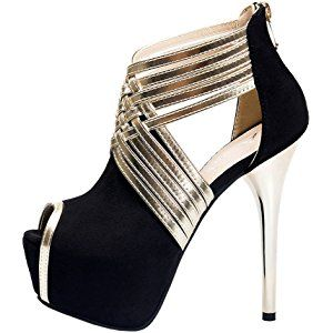 Fereshte Womens Sexy Fashion Peep-toe Stripe Sandals Super High Heels