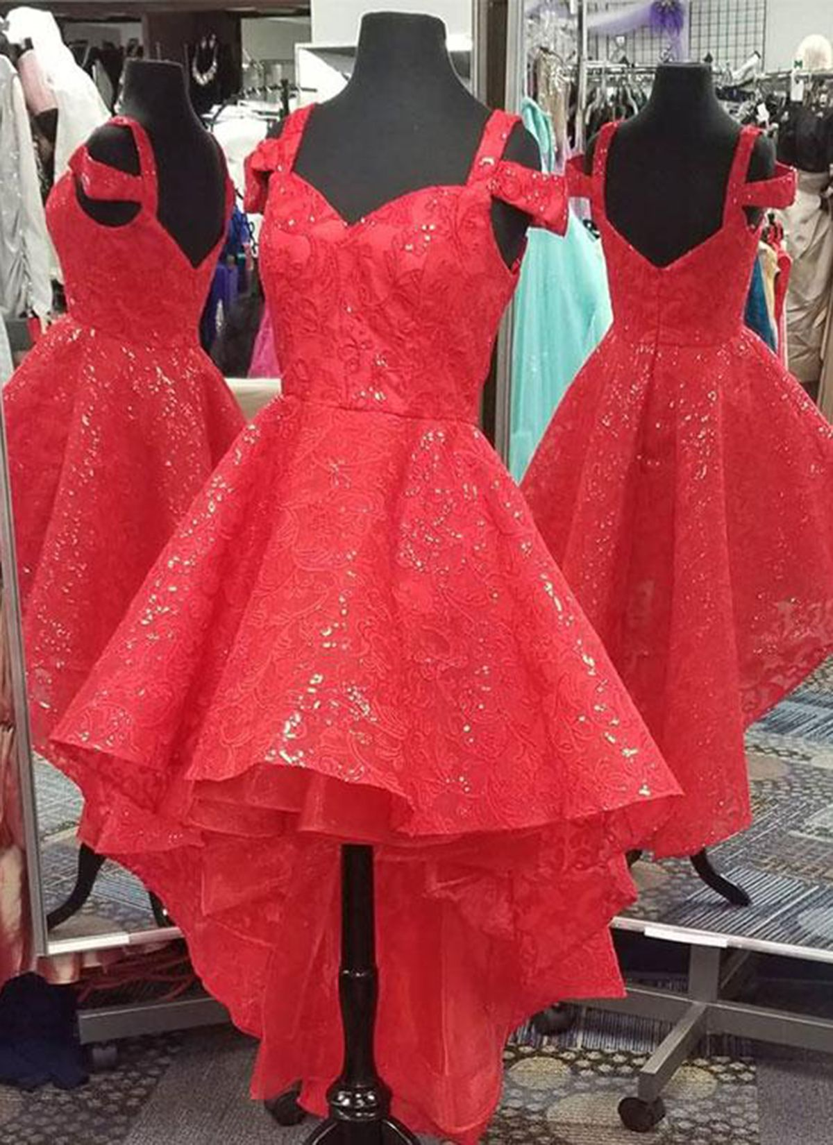 Red lace short high low a line homecoming dress promdress