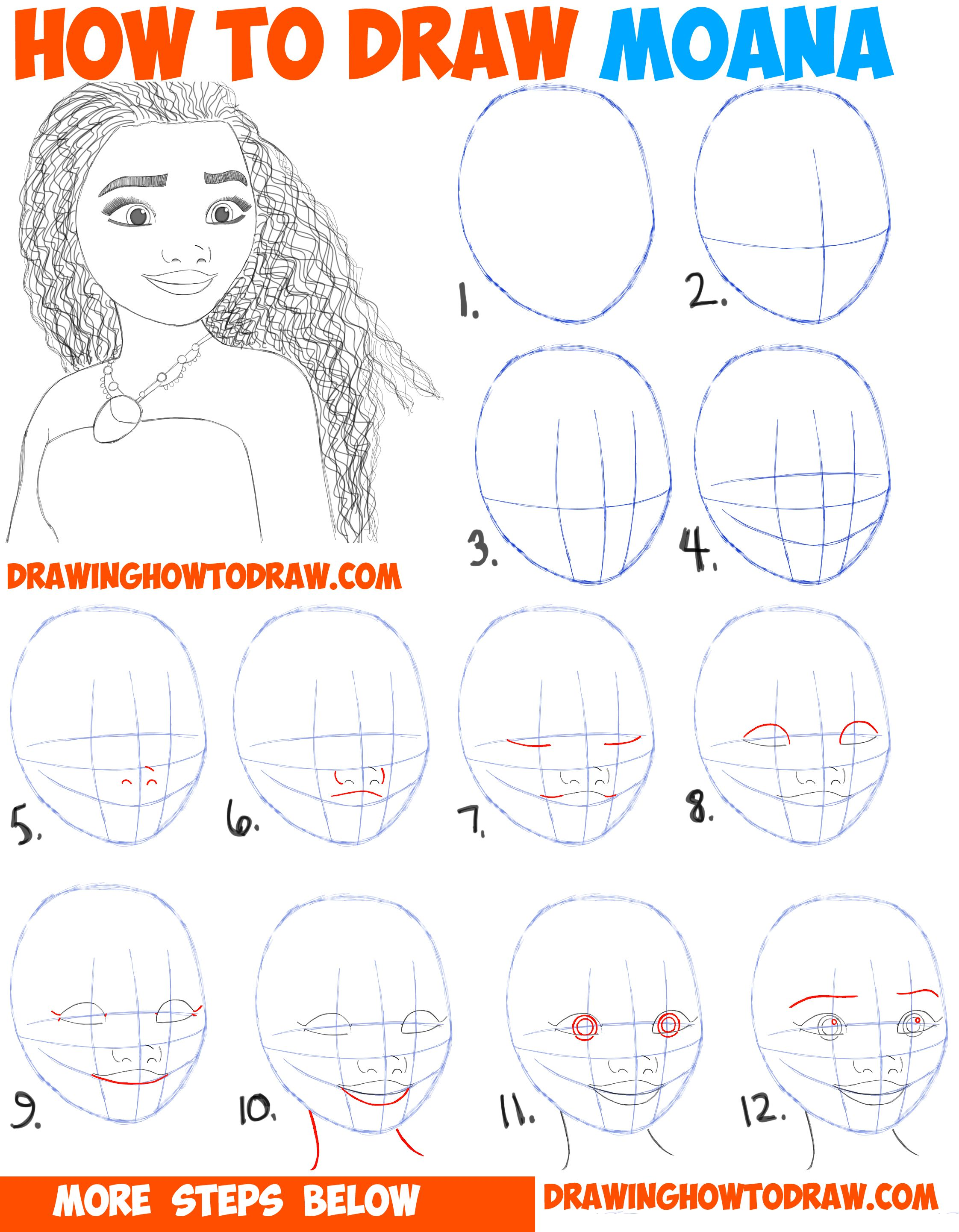 How to draw moana easy step by step drawing tutorial for for Learn to draw cartoons step by step lessons
